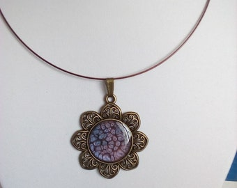 30 mm square glass cabochon necklace