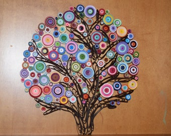 Paper Quilling Rainbow Tree