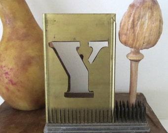 """1 vintage brass Y stencil, letter Y, capital Y, 4 inch stencil, 4 """" stencil Y old stencil, metal Y stencil, old, rustic, primitive, antique"""