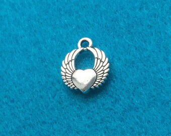 Winged Heart Charm Antique Silver Plated - TWO (2) Charms - Jewelry Making Beading Supplies