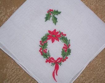 Vintage Christmas Hanky with Red Poinsettas - Handkerchief Hankie