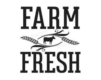 Farm Fresh decal, wall decal, farmhouse style, kitchen decor, vinyl decal, rustic sign, country kitchen, organic, farm art, wheat stems, cow