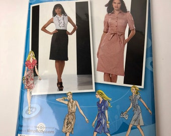 Simplicity #2403 Sewing Pattern Misses 4,6,8,10,12 Project Runway Button Down Ruffle/Double Breasted Dress bow tie sleeve option NEW UNCUT