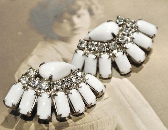 Rhinestone Earrings / Mid Century / Milk Glass / Wedding / Clip On