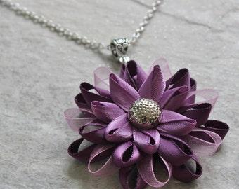 Purple Necklace, Purple Pendant Necklace, Purple Gifts, Plum Necklace, Purple Flowers, Purple Flower Necklace, Amethyst, Purple Jewelry