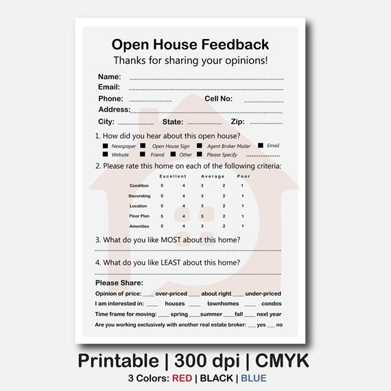 broker open house feedback form real estate open house feedback form Real Estate Signs Real