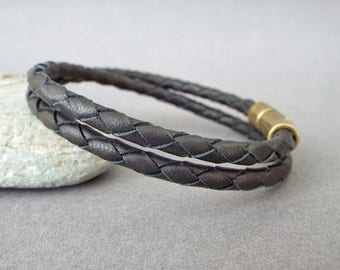Mens Leather Bracelet, Anniversary Gift, Boyfriend Gift, Braided Bangle
