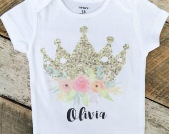 NEW Personalized Gold Crown Onesies®, Custom Princess Onesie, Personalized Onesie, Floral Onesie, Graphic Onesie, Trendy Baby, Boho