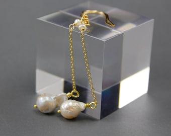 Long Baroque Pearl Earrings in Gold Fill - Bridal Earrings - Wedding Jewelry - June Birthstone - Handmade by Adonia Jewelry