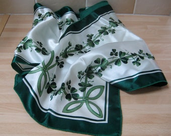 Vintage Irish Lucky Clover Scarf Good Luck St Patrick's Day Ireland Green Headscarf