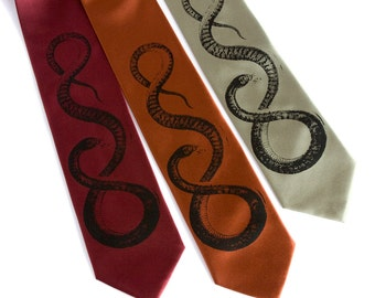 Snake necktie. Silkscreened reptile design tie, black print. Choose standard or narrow size. Men's necktie.