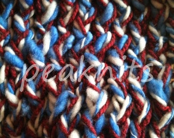 """Scarf - Handspun and Handknit ~ """"America"""" ~ Red, White and Blue Multi Strand 3 Ply, Alpaca, Merino Wool and Cotton, One of a Kind"""