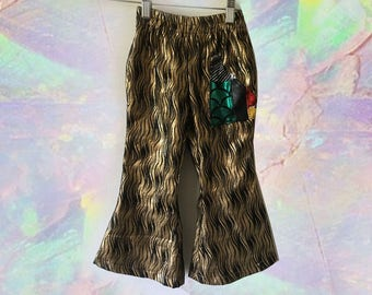 Metallic Bronze Black Kids Unisex Bellbottom Flare Pull Up Elastic Waist Pants Handmade One of a Kind with Cactus Patch Back Pocket