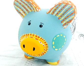 Custom Personalized Piggy Bank, Hand Painted Piggy Bank, Sun Piggy Bank, Child Piggy Bank
