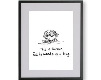 This is Norman A4 Unframed Print, Limited Edition Illustrated Cute Hedgehog Poster, A3