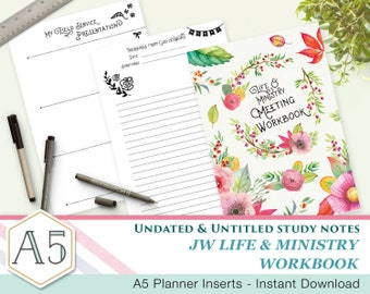 ENGLISH Simple  - JW Meeting Workbook companion notes - A5 - Printable inserts - Undated Untitled