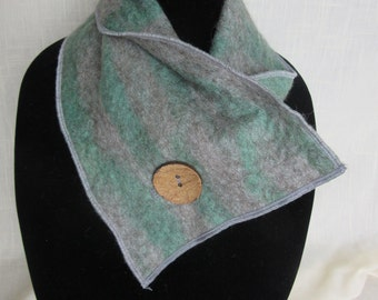 Nuno Felted Alpaca Scarf/Neckwarmer With Coconut Button - All Natural Gray & Hand Dyed Green Alpaca