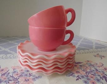 Hazel Atlas Glass Company, Six Piece Crinoline Saucers & Two Cups, Rose Colored Ripple Edge Milk Glass, Pastel Dinnerware, Circa 1950