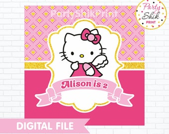 Hello Kitty Backdrop, Hello Kitty Banner, Hello Kitty Poster, Hello Kitty Party Printable, Kitty Birthday, Digital File