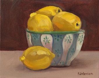 Lemons  8.5 x 11 original oil painting