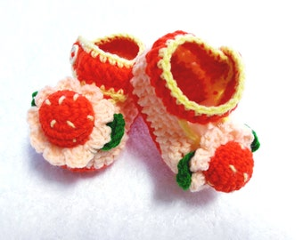 Handmade crochet booties for baby girl new born,baby reborn shoes  0-6 month