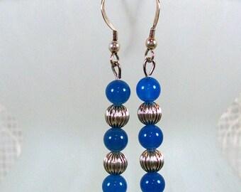 Blue Bead Dangle Earrings / Silver Dangle Earrings / Blue Earrings / Handmade Earrings / Fashion Earrings / Sterling Silver Earrings