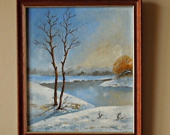 "Original oil painting for sale ""Trees in Early Spring"", landscape"