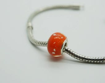 SET of 5 spacer bead red orange glow Europeans (w16)