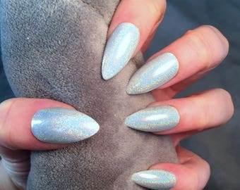 FALSE NAILS - Silver Holographic Glitter Rainbow - Stick On - The Holy Nail