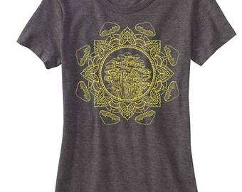 Women's Mushroom Mandala Sacred Geometry Tee Psychedelic T-shirt