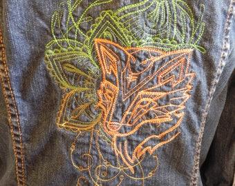 Ladies upcycled jean jacket