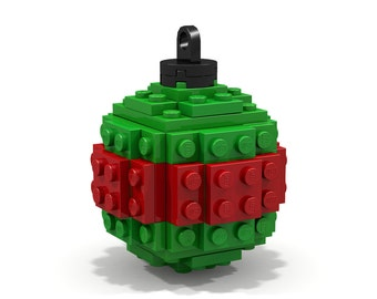 Green and Red Striped Ornament - Made from Lego Bricks