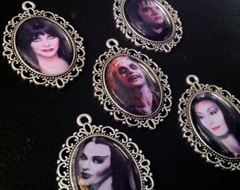 Glass Cabochon Pendant/Necklace - Lily Munster / Morticia Addams / Lydia Deetz / Elvira / Beetlejuice