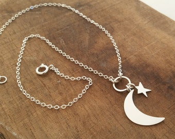 Moon and Star Necklace, Sterling Silver, Handmade Jewelry