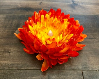 Chrysanthemum Tea Light - Orange