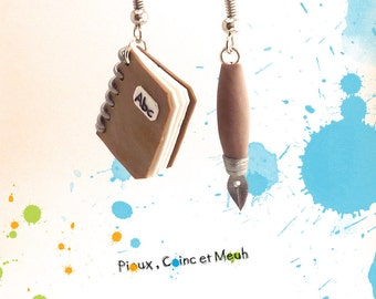 notebook and pen, school - earring