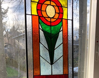 Handmade Stained Glass Flower Panel