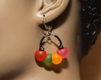 dangle hoops, jelly bean colors, Swarovski crystals