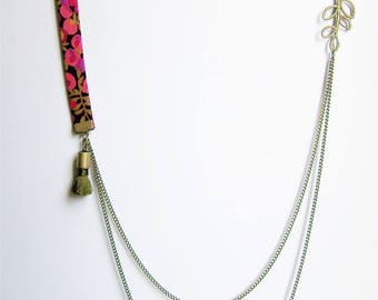 Liberty necklace double chain tassel khaki green and pink, purple and khaki