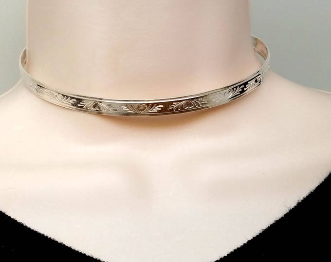 "Featured listing image: 14"" In Stock Sterling Silver Locking Slave Collar Bas Relief Heart Motif With Stainless Clasp"