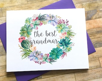 Pregnancy Reveal Card - Pregnancy Announcement to Grandma - New Great Grandma Rustic Baby Announcement - Having a Baby - SWEET SUCCULENTS