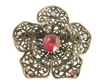 Brass Filigree Pink Rhinestone Flower Pin