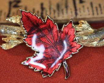 Vintage Red  Enamel Maple Leaf Gold Tone Twig Brooch Pin