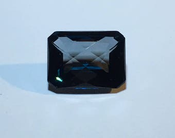 London Blue Topaz 12.14 cts. Emerald & Checkerboard Cut - Appraised by GIA Certified Gemologist Valued At 1,310.00 Dollars