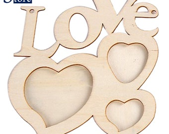 Hollow Love Wooden Photo Frame DIY Picture Frame Art Decor White Base New Arrival 1pc 20cm*17cm