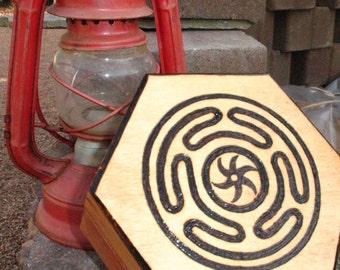 Hecate's Wheel Trinket Box~Altar Box~Hexagonal 'Hex Box'~Dark Goddess