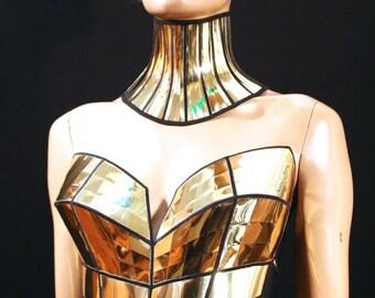 gold bustier corset top, sci fi costume top,lady ga bra,rave bra , cyberpunk, cybergoth steampunk, futuristic clothing, fusion bra