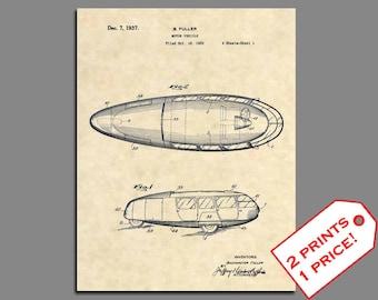 Patent Prints - Dymaxion Car Patent Art - Vintage Patent Print Wall Art - Classic Car Artwork Patent Poster Wall Art Car Artwork Prints 441