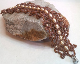 """Elegant Brown and Freshwater Pearl """"Jenny's Lace"""" Bracelet - Hand Beadwoven"""