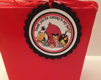 Angry Birds favor tags , Angry Birds tags, angry bird toppers , 12 per order